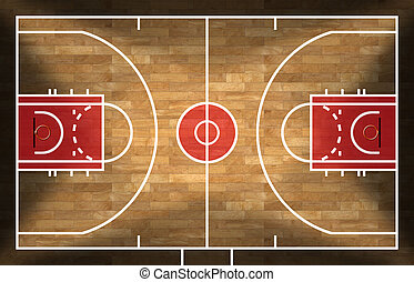 Wooden Basketball Court with Parquet - Realistic 3D...