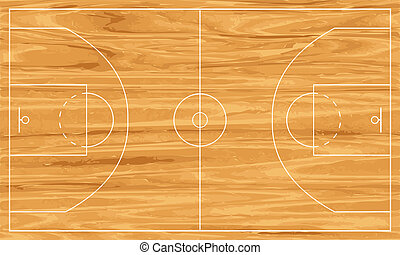 wooden basketball court - Wooden basketball court. Vector...