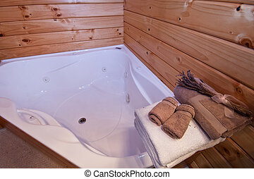 Wooden Bathroom in mountain lodge - Bathroom interior. Fox ...