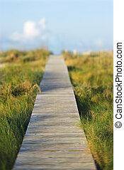 Wooden beach access walkway.