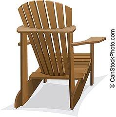 Wooden beach chair - Dark wooden beach chair on white...