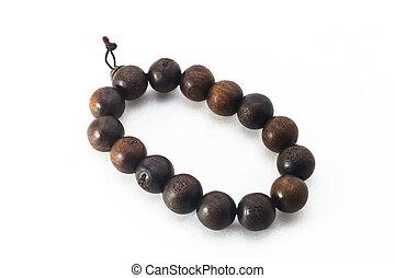 wooden-beaded, bouddhiste, bracelet