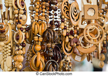 Wooden beads at the fair