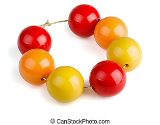 Wooden beads - Colorful wooden beads bracelet isolated on ...