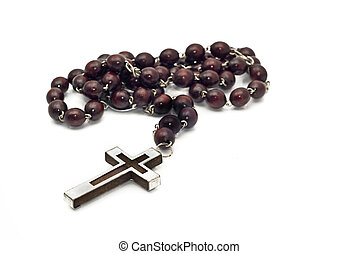 Wooden beads with metallic cross