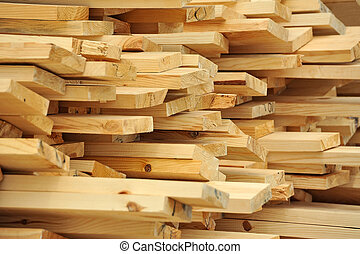 Wooden beam - Fresh wooden beam, stacked at construction ...