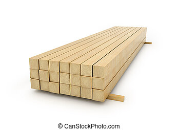 Wooden beams for the building on a white background. 3D illustration