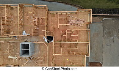 Wooden beams framed building residential home construction interior