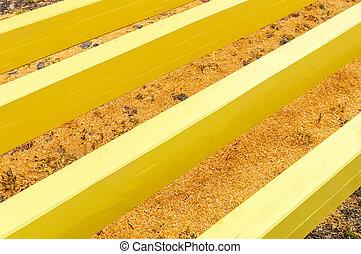Wooden beams preparation outdoors