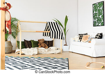 Wooden bed for kids - Wooden bed in shape of house with...