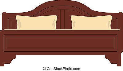 Wooden bed for one person with a pillow and a blanket in a flat style. vector illustration isolated on white background in isometric