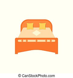 Wooden bed for sleeping with pillows and blanket. Bedroom furniture, interior. Two beds for husband and wife. Vector isolated background.