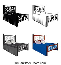 Wooden bed for teenager with graffiti on the back. Bed with blue linens. Bed single icon in cartoon style vector symbol stock illustration.