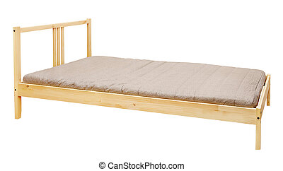 Wooden Bed - yellow wooden bed isolated on white background