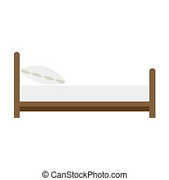Wooden bed with a pillow on white background. Vector illustration in trendy flat style. EPS 10