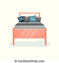 Wooden bed with gray blanket and pillows, bedroom furniture, interior design element vector Illustration on a white background