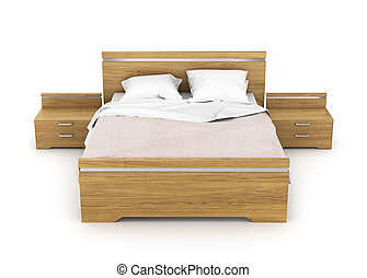 Wooden bed with linens. Two bedside tables about bed