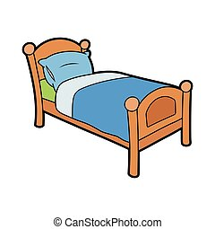 Wooden bed with pillow