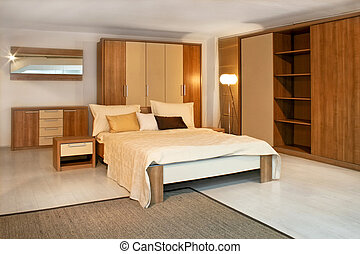 Wooden bedroom 2 - Standard bedroom in apartment with wooden...