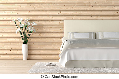 wooden bedroom with calla lilly - interior design of wooden...