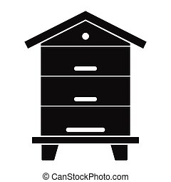 Wooden beehive icon in black simple silhouette style vector illustration