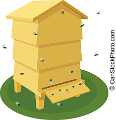 Wooden Beehive with bee on a white background. Traditional beehive. Cartoon illustration