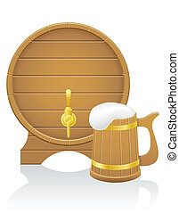 wooden beer barrel and mug vector illustration