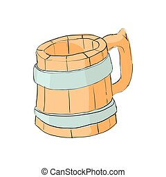 Wooden beer mug icon, cartoon style