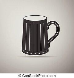Wooden beer mug icon.