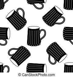 Wooden beer mug icon pattern on white background.