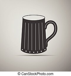 Wooden beer mug icon.