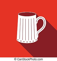 Wooden beer mug icon with long shadow.