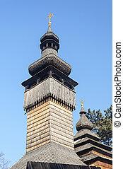 Wooden bell tower of old Ukrainian church