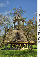 Wooden bell tower wit thatch - Old wooden bell tower wit ...