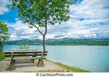 Wooden bench at a lake