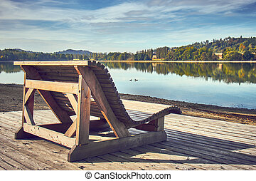 Wooden bench at the lake.