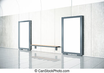 Wooden bench between blank billboards in empty hall with concrete floor, mock up, 3D Render