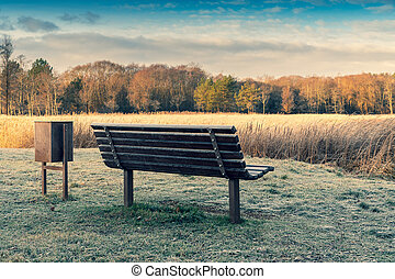 Wooden bench for rest and a garbage bin
