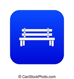 Wooden bench icon digital blue