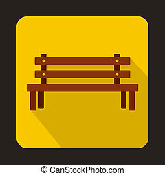 Wooden bench icon, flat style