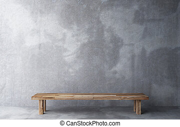 Wooden bench in a room with concrete floor and concrete wall