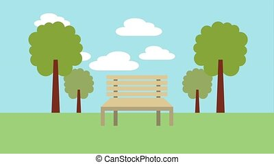 wooden bench in the park landscape
