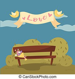 Wooden bench in the park, pair of flying birds holding ribbon banner with word Love cartoon vector Illustration, design element for poster or banner