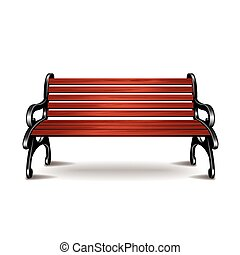 Wooden bench isolated on white vector - Wooden bench...