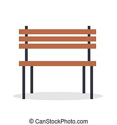 Wooden Bench Vector Illustration Isolated on White