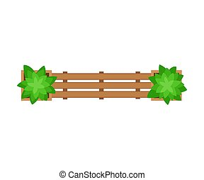 Wooden bench. View from above. Vector illustration on a white background.