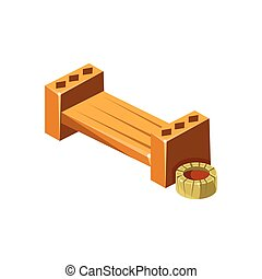 Wooden Bench With Empty Flower Bed Isometric Garden...