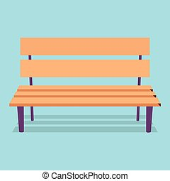 Wooden Bench with Purple Legs on Blue Background