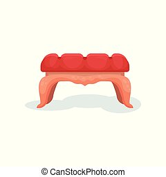 Wooden bench with red velvet upholstery, interior design element vector Illustration on a white background
