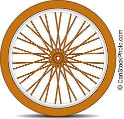 Wooden bicycle wheel with shadow